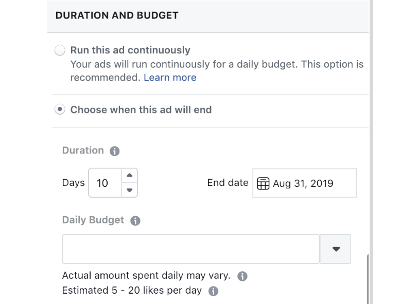 FB ads Duration and Budget