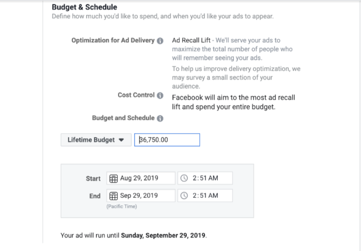 Facebook ads and Scheduling